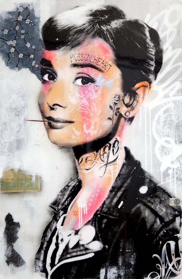 audrey hepburn tattoo graffiti graffiti bnswhat tattoos scope miami beach avant gallery street art